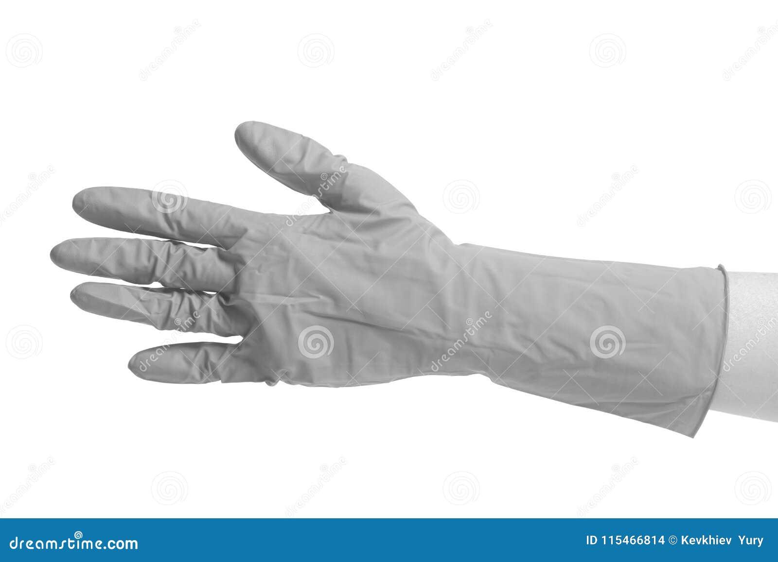 Latexhandske för att göra ren på den kvinnliga handen