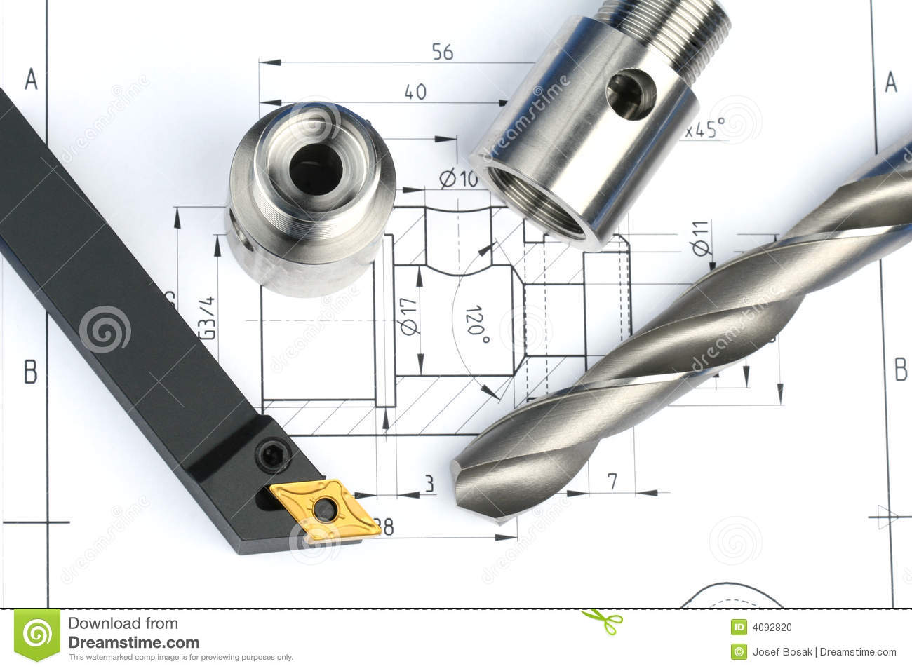 Lathe tool, drill and workpiece