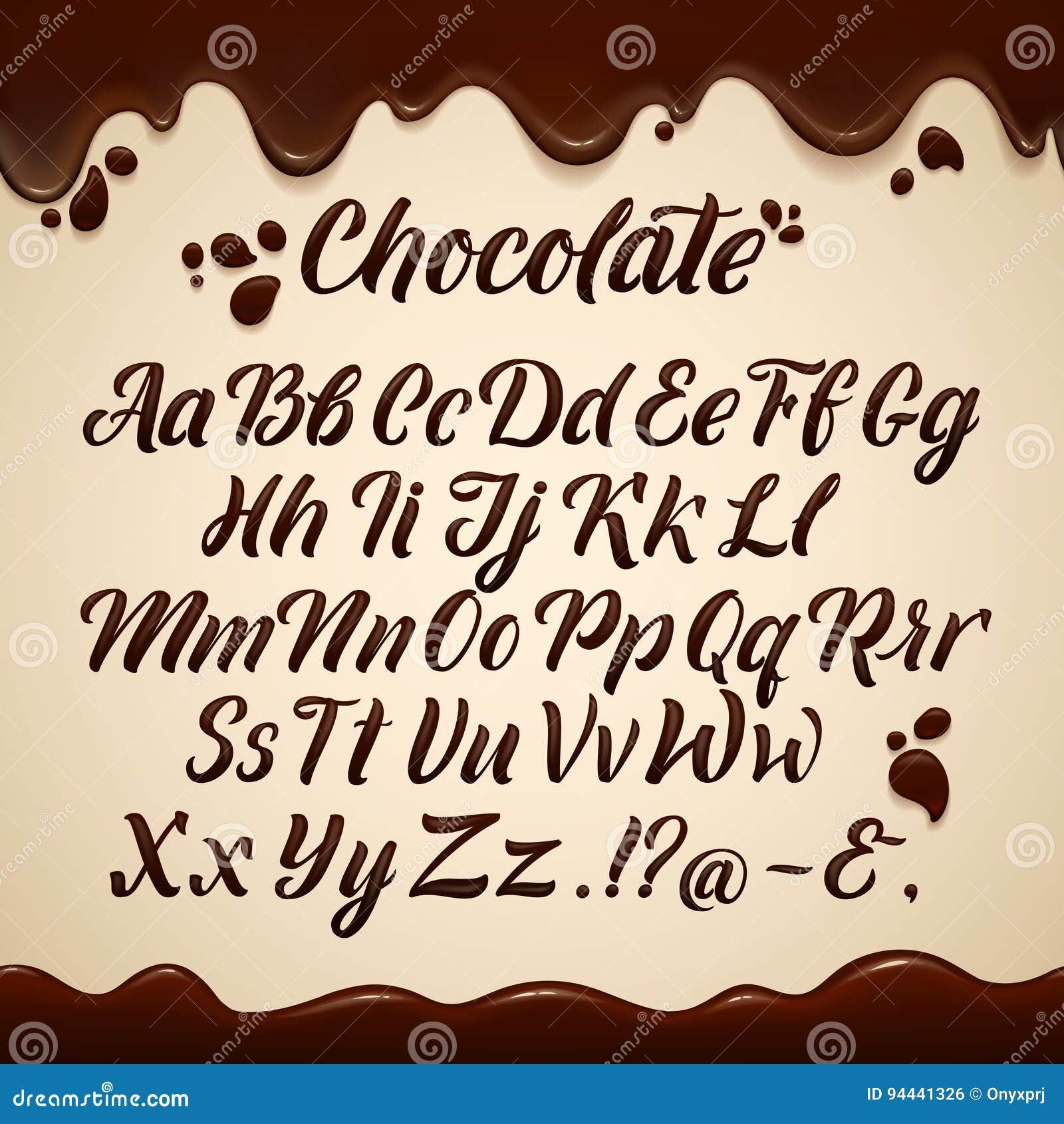 Latijns alfabet in vloeibare stijl Hand die bruine chocoladebrieven schrijven Vector graphhics
