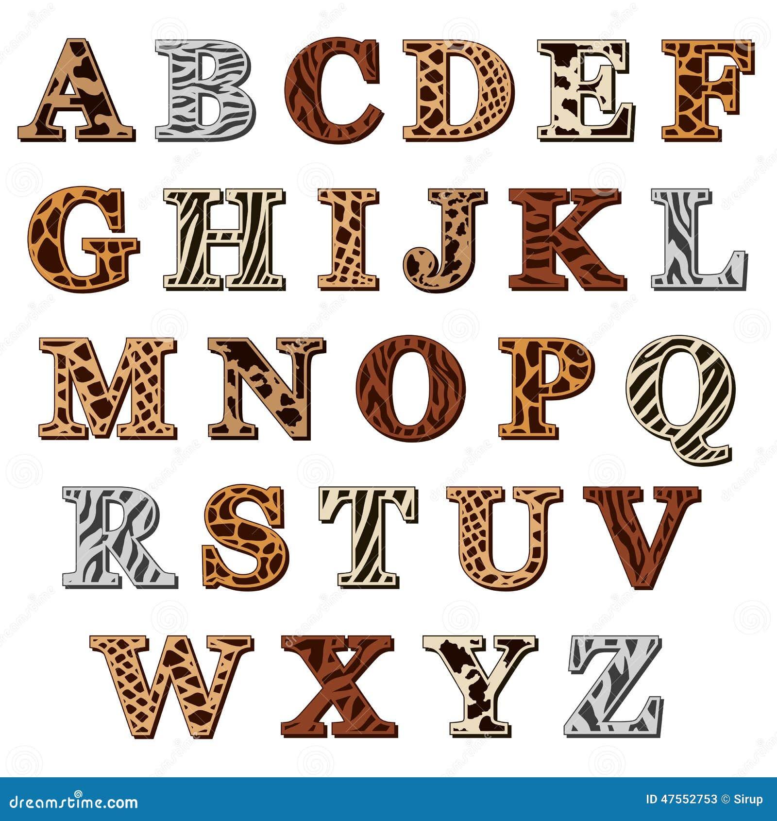 Latin Alphabet With Animal Print Stock Vector - Image ... - photo#46