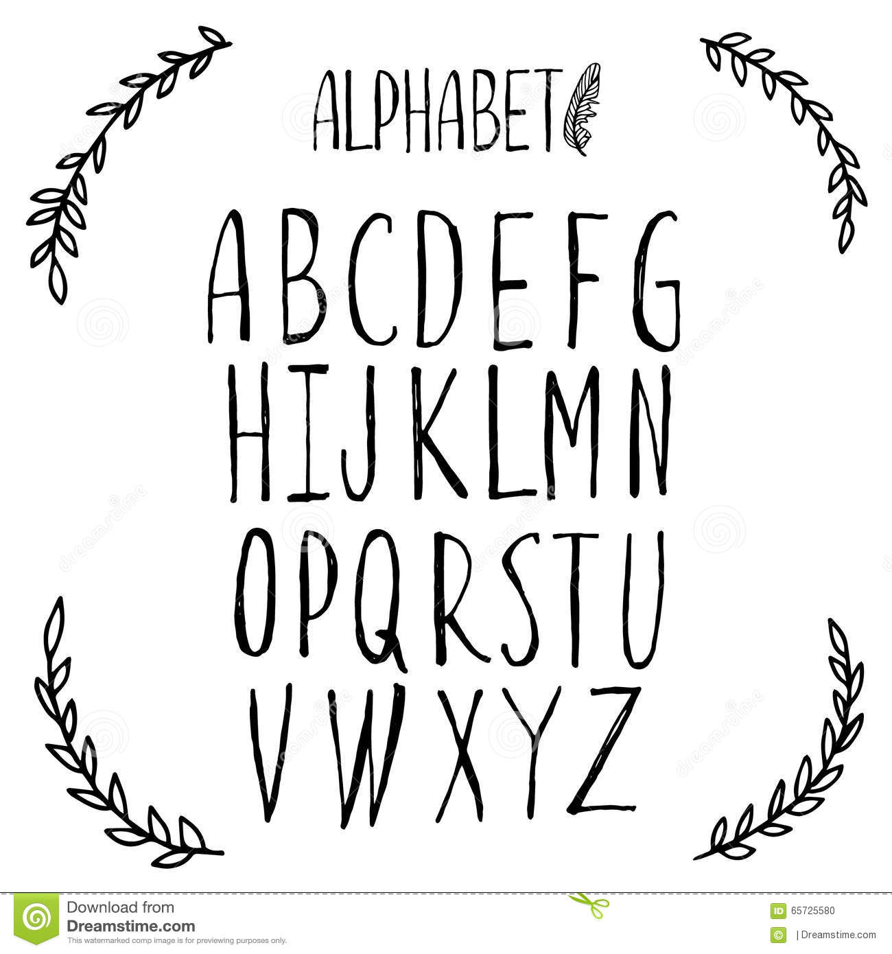 Latin Alphabet Font Lettering Stock Vector Image