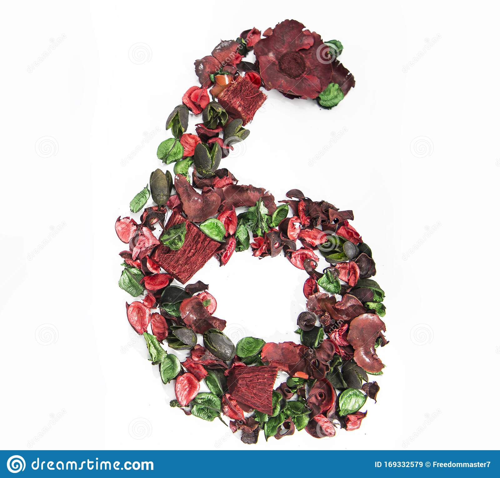 Latin Alphabet Number Made From Dry Rose Flowers  Stock Illustration