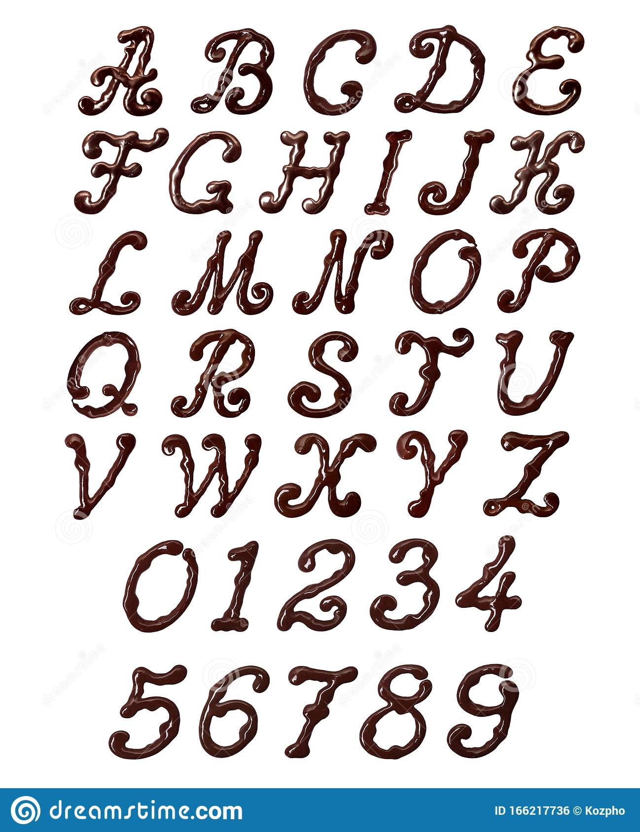 Latin Alphabet And Numbers Made Of Elegant Chocolate Font ...