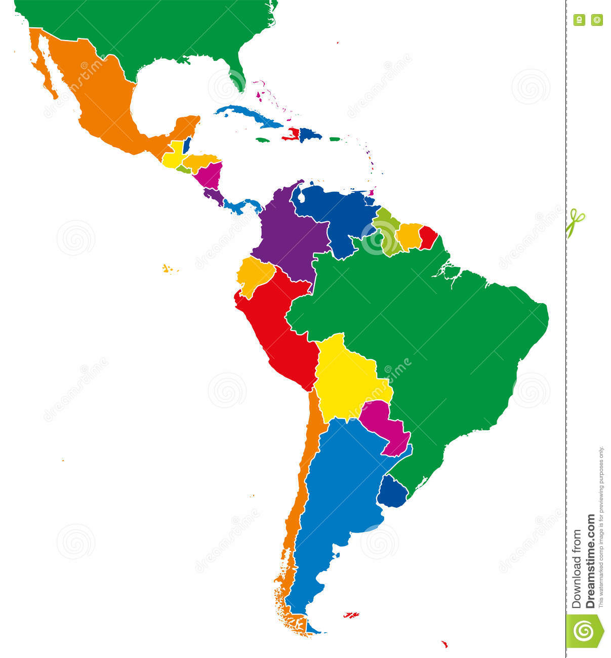 Latin America Single States Map Full Color Stock Vector
