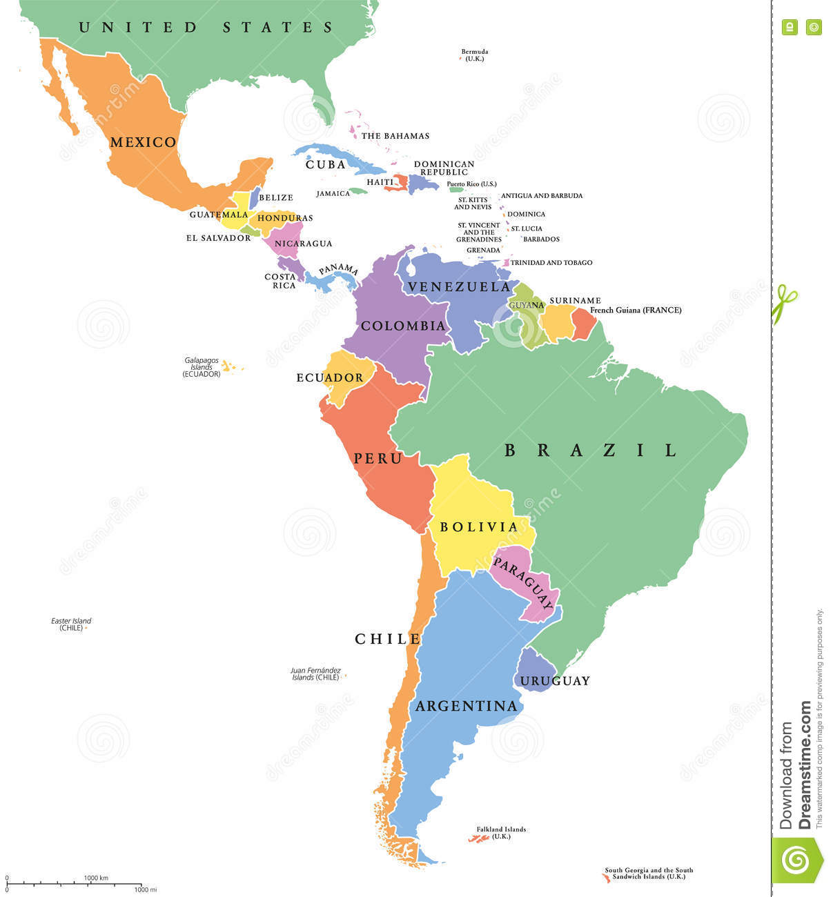 Latin America Single States Political Map