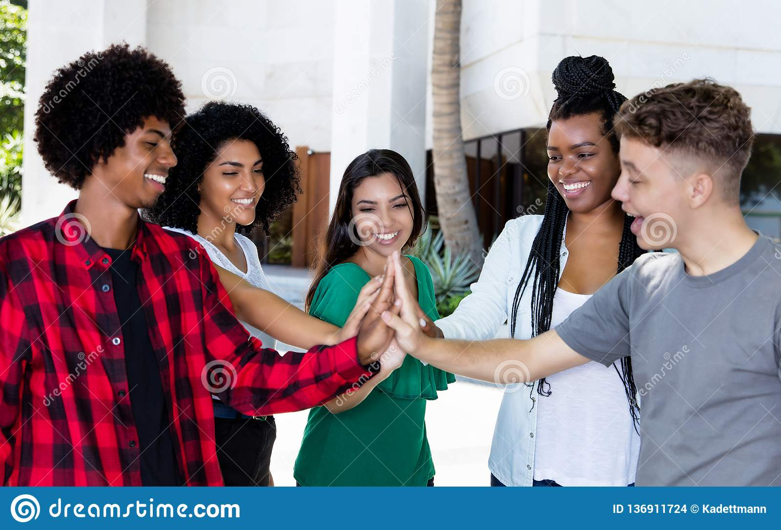 Latin american and african team of young adults