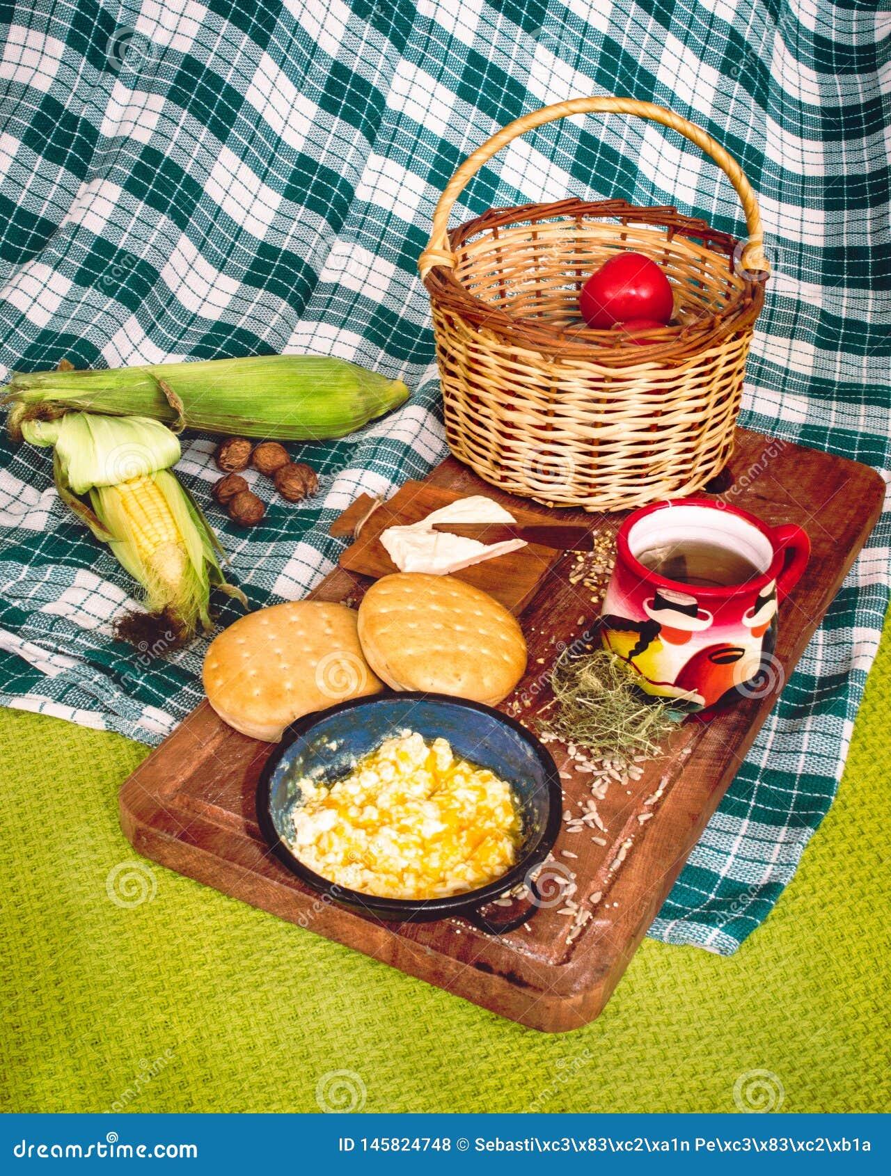 Latin American breakfast on wood table