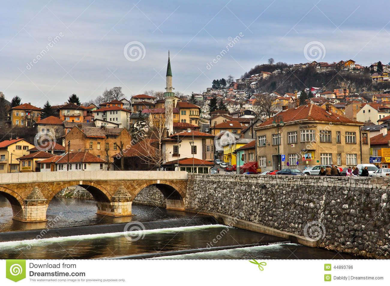 Latin Bridge Across Miljacka River In Sarajevo Editorial