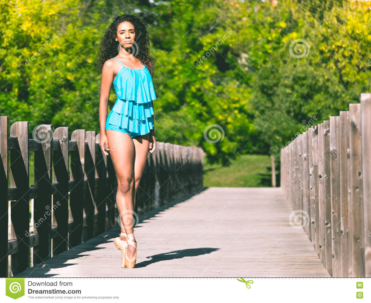 latin dancer on the tip of her ballet slippers stock photo image