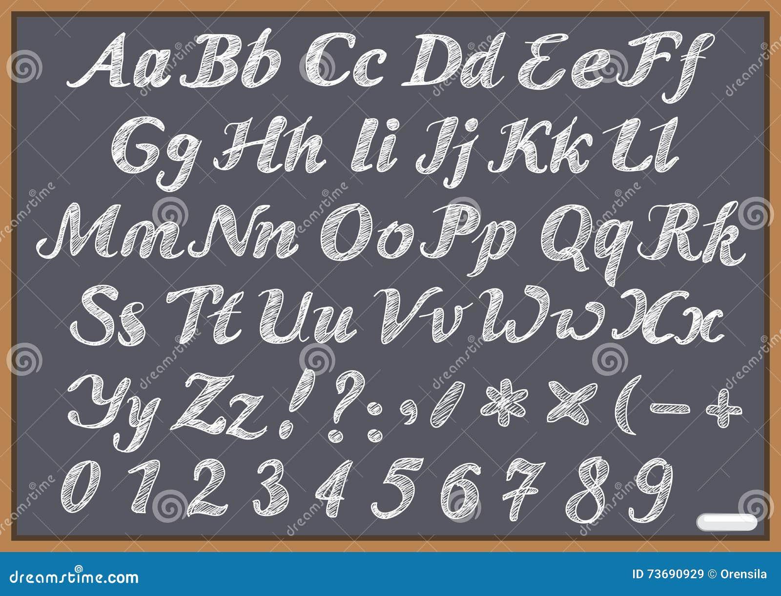 latin de lettre d 39 alphabet anglais sur le tableau noir de craie illustration de vecteur. Black Bedroom Furniture Sets. Home Design Ideas