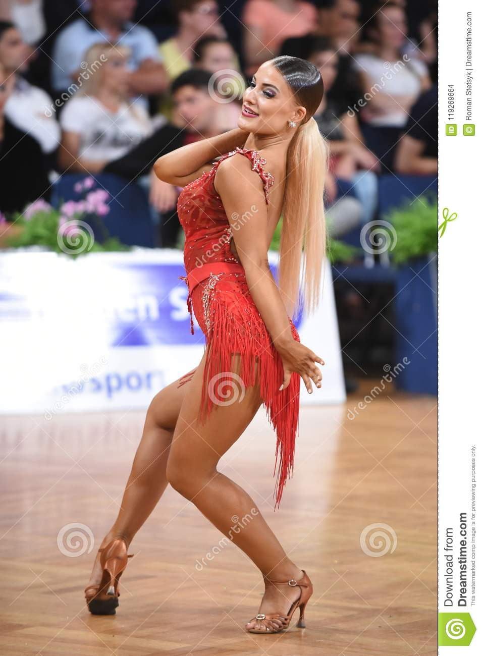 Stuttgart, Germany - August 14, 2015: An unidentified latin female dancer  in a dance pose during Grand Slam Latin at German Open Championship, on  August 14, ...
