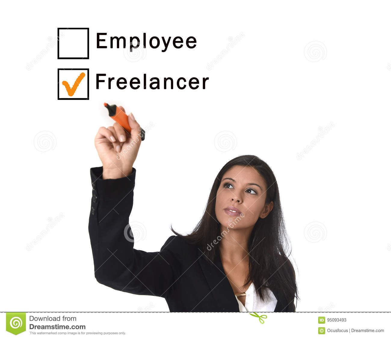 Latin woman in office suit writing with marker on screen or board ticking boxes employee freelance