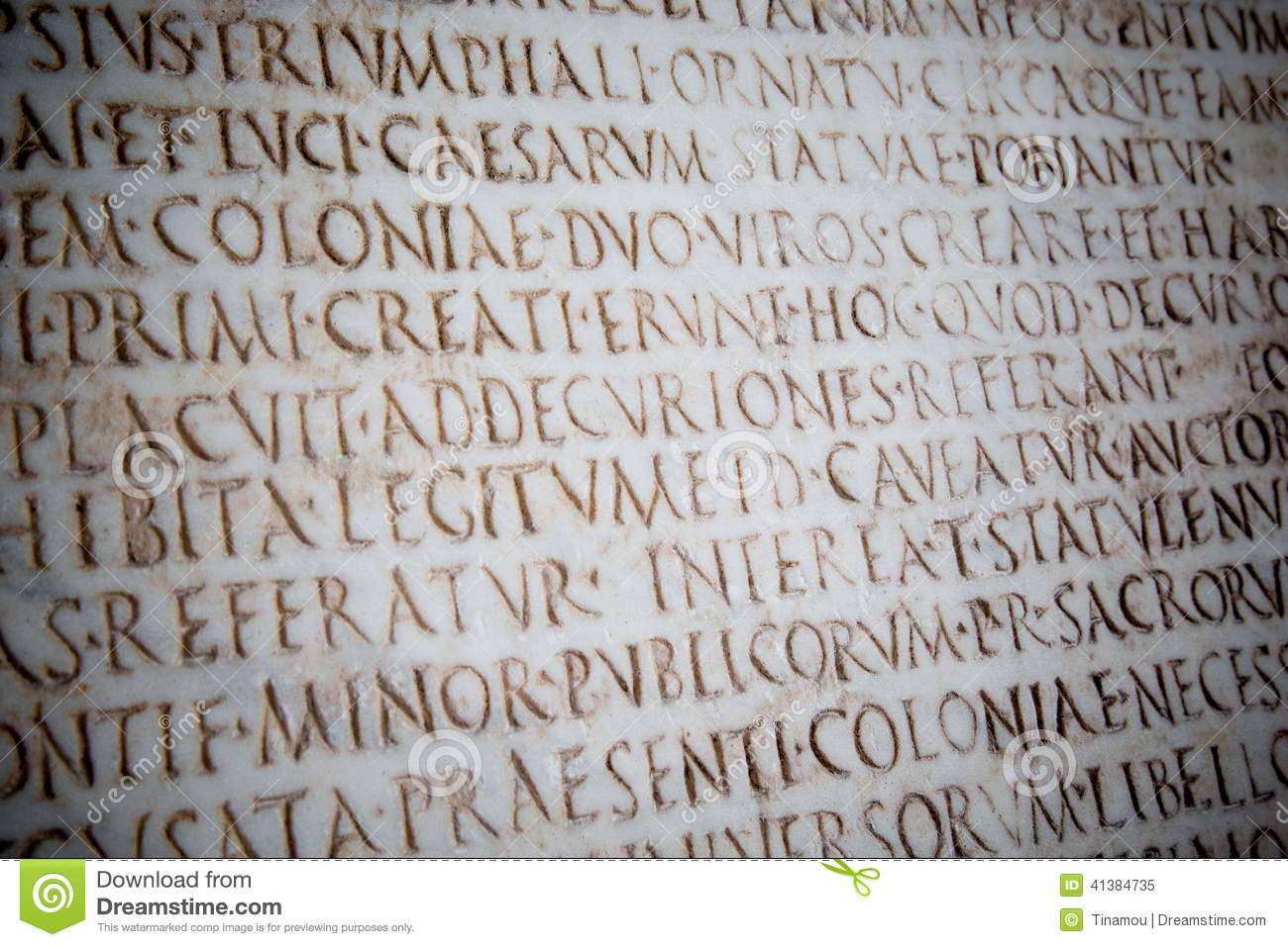 Latin Words Carved On Ancient Roman Stone, Pisa Stock ...