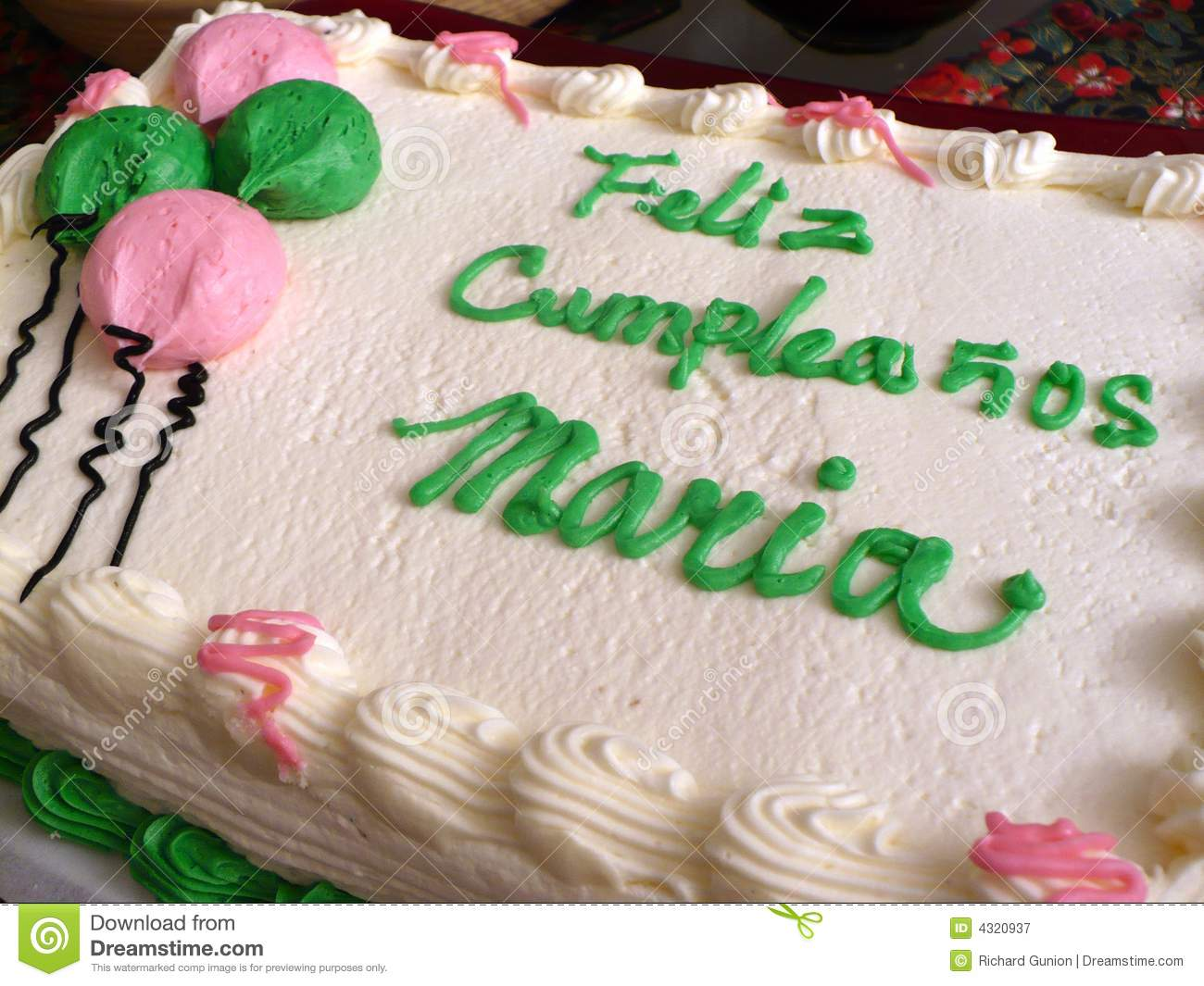 Photo Of Birthday Cake Which Says Happy Maria In Spanish Feliz Cumpleanos Means And Is The Common Name A Latina Or