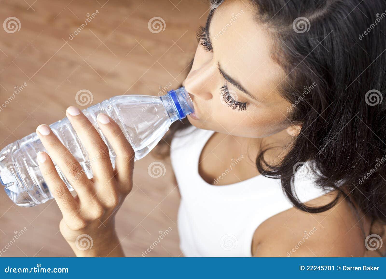 Latina Hispanic Woman Girl Drinking Water Bottle