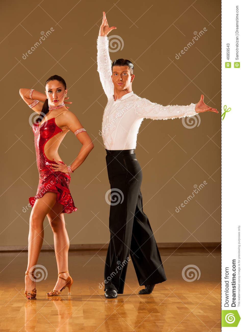 Latino Dance Couple In Action - Dancing Wild Samba Stock ...
