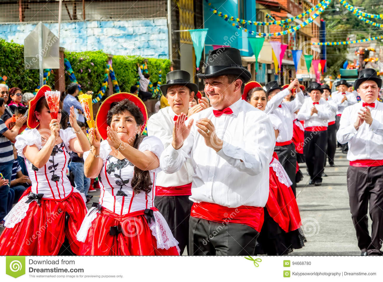Latino Dancers Performing On The Street