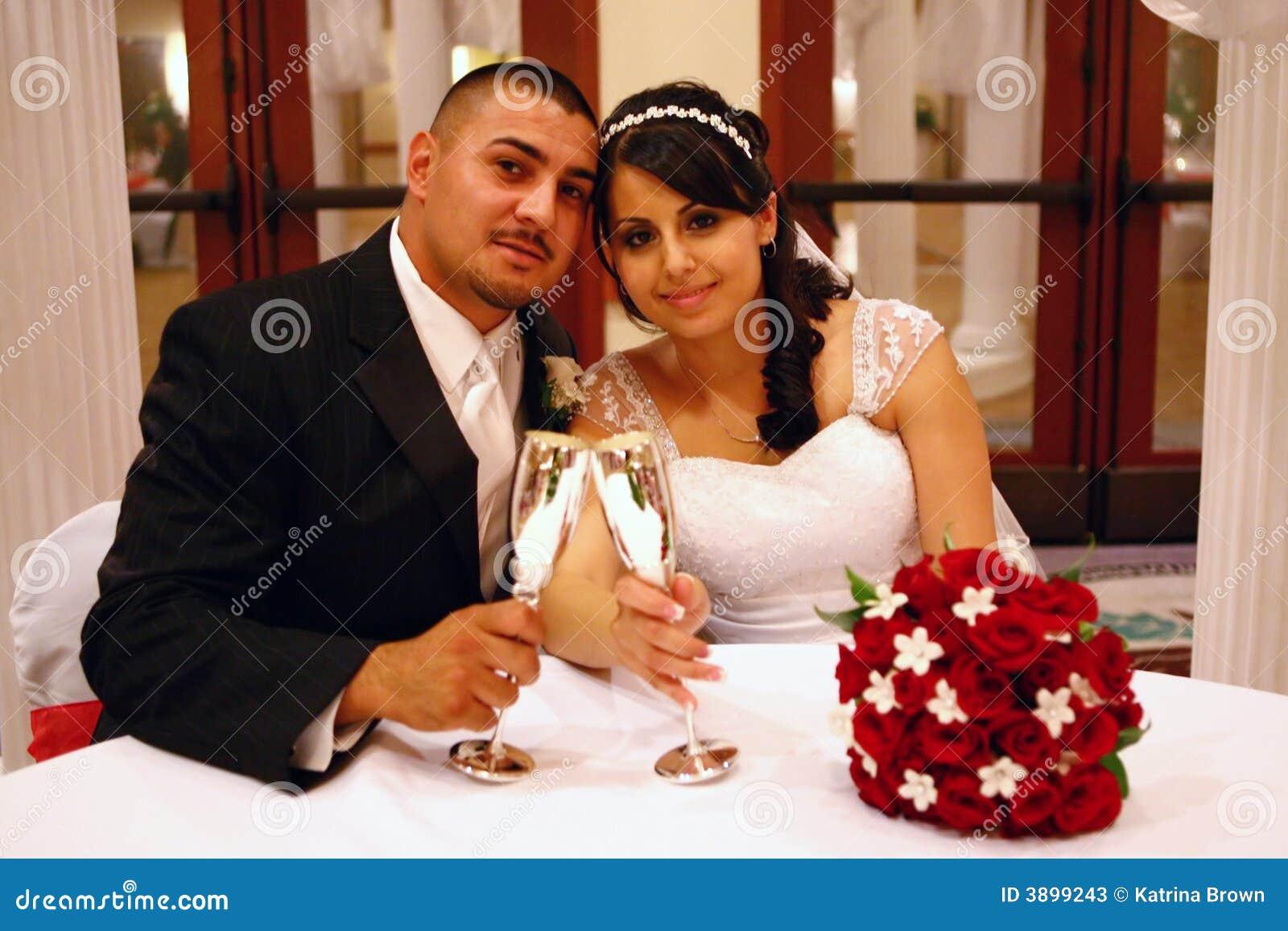 Latino Wedding Couple Toasting
