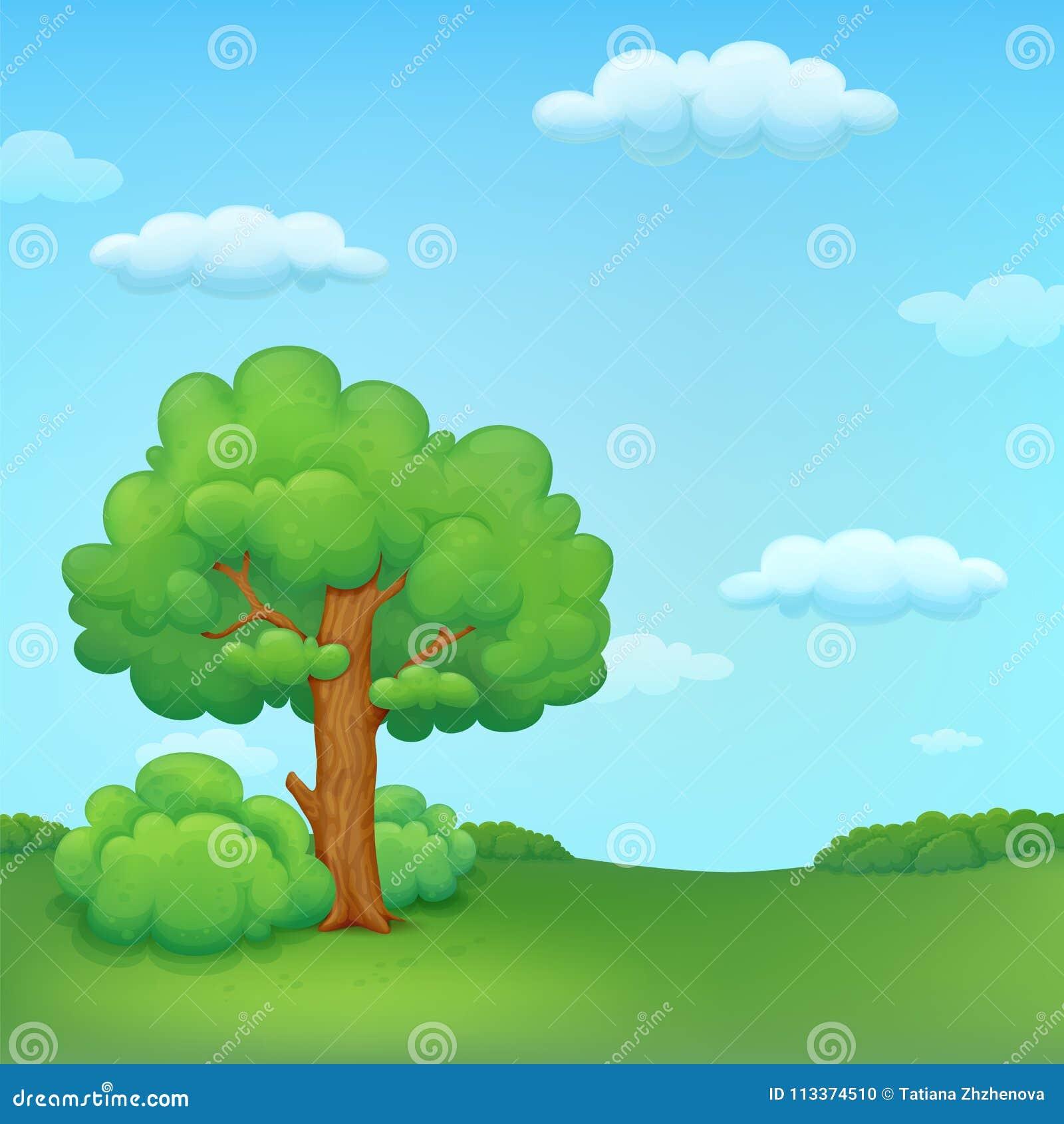 Lato łąkowa ilustracja z drzewem i krzakami