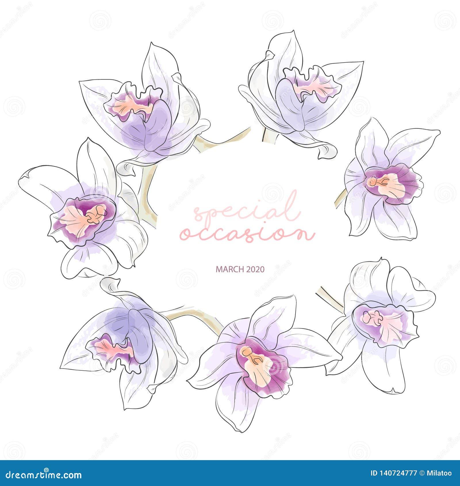 Lato akwareli wianek z fiołkowymi pomarańczowymi orchideami ilustracyjnymi Ręka rysująca botaniczna sztuka z wiosny dekoracją _