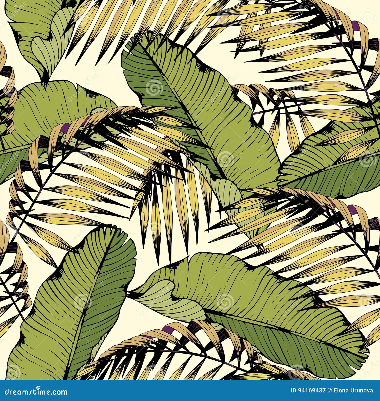 Lato bezszwowy wzór z tropikalnymi liśćmi i gałąź Wektorowy dekoracyjny tło dla projekta