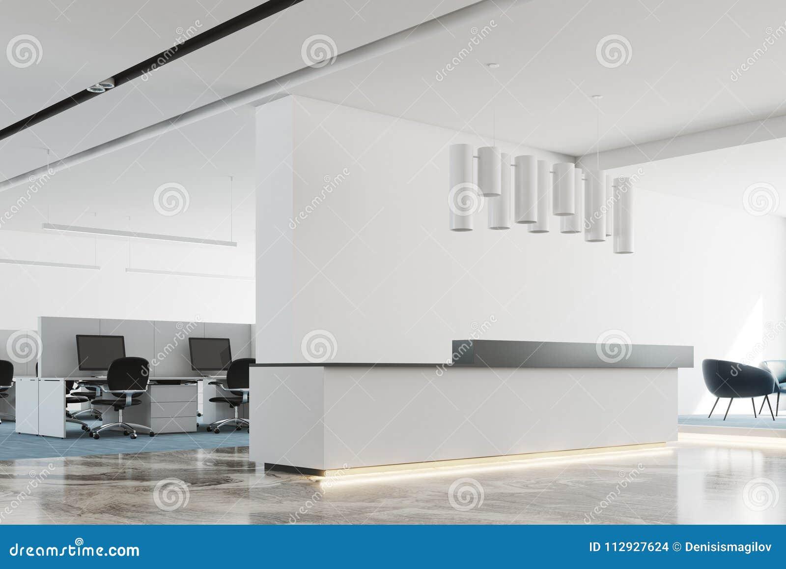 Reception Ufficio Bianco : Lato bianco e nero bianco dell ufficio della reception fotografia