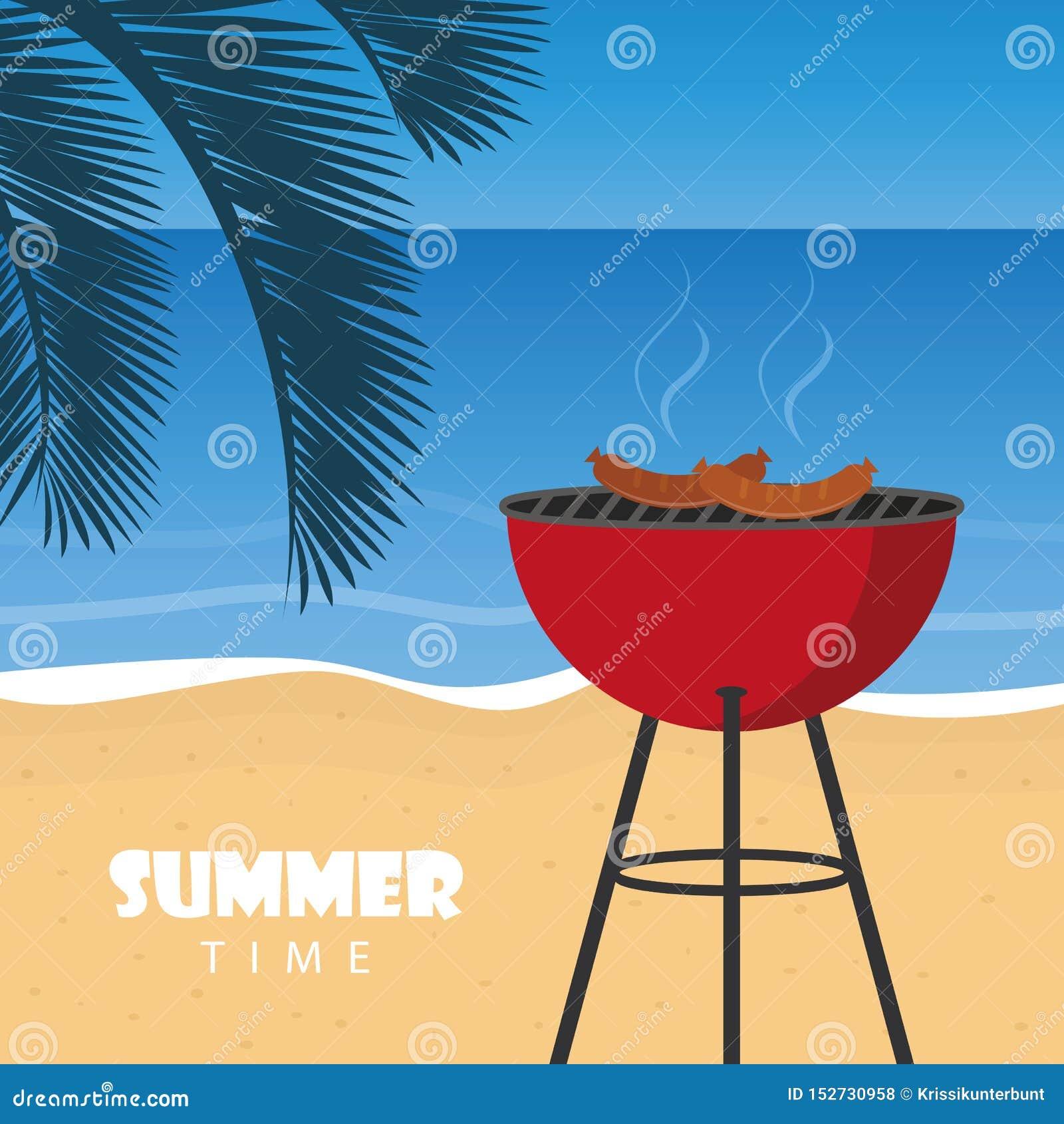 Lato czasu grill na pla?y z palmowym li?ciem