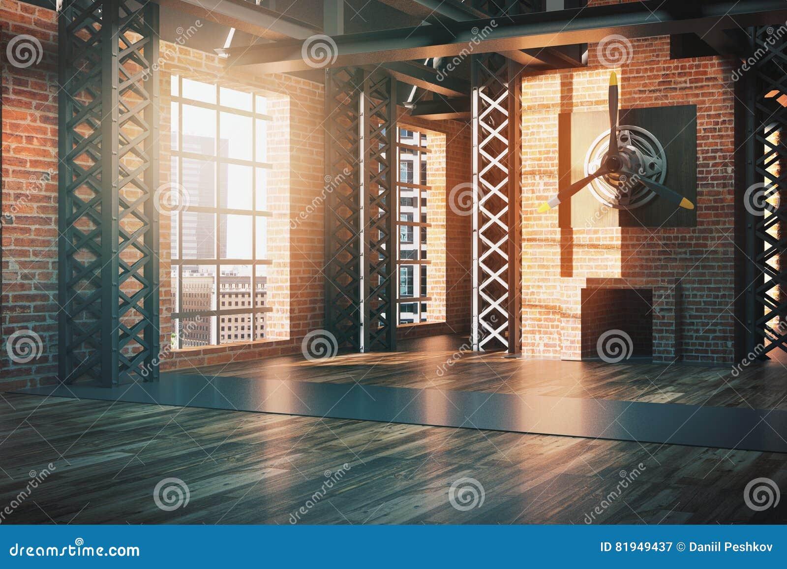 Lato dell 39 interno di stile del capannone illustrazione di for Case in stile capannone