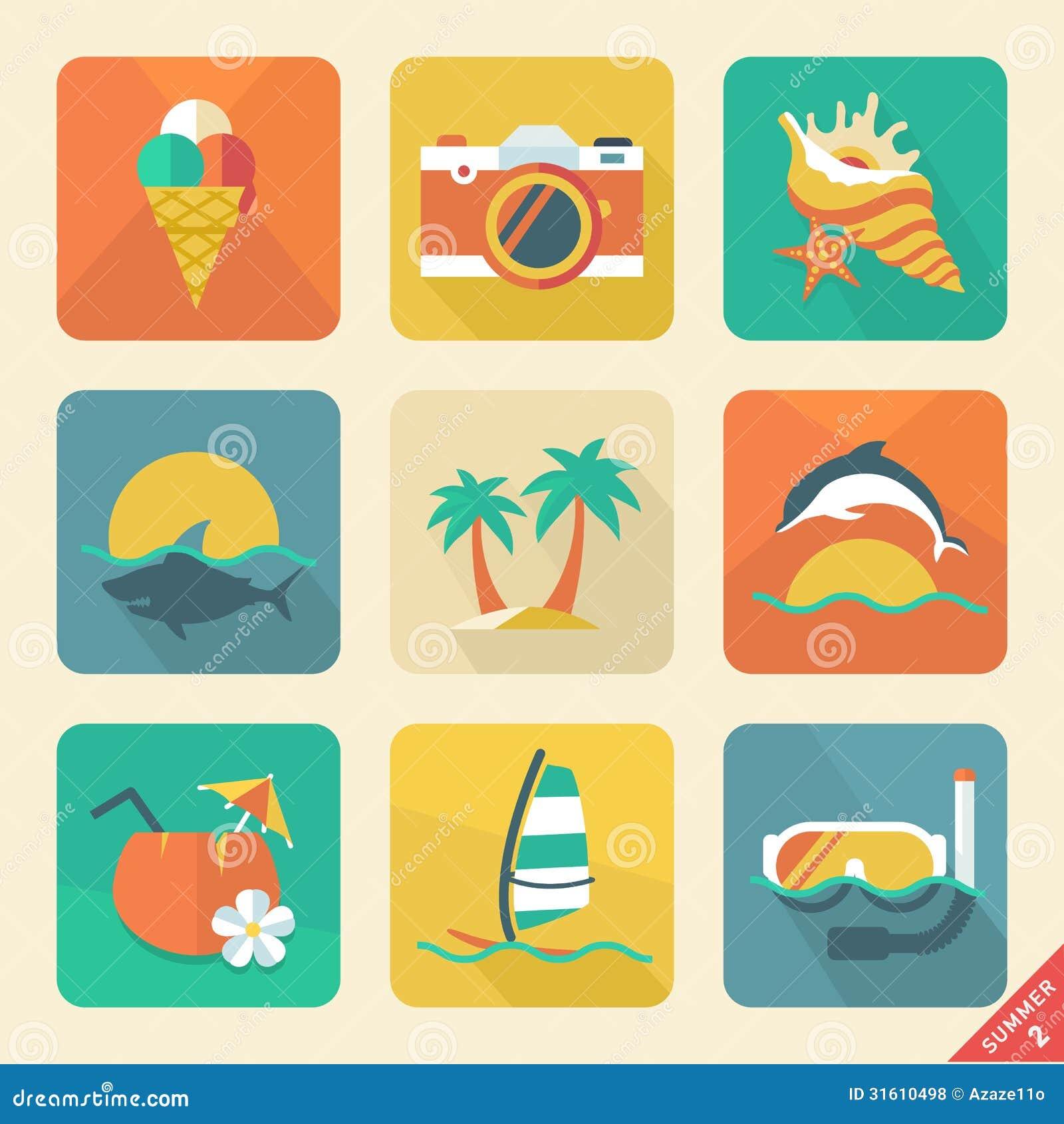 Lato ikona ustawia 2. projekta Płaskiego trend. Retro kolor. Wektorowy illust