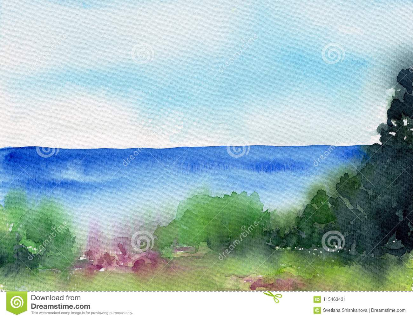Lato krajobraz z jeziorem, rzeka, las lub łąka, piękna sceneria beak dekoracyjnego latającego ilustracyjnego wizerunek swój papie