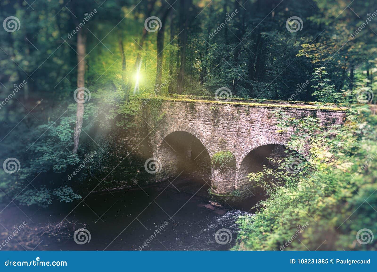 Lato krajobraz z starą brukowiec bridżową i małą rzeką Na