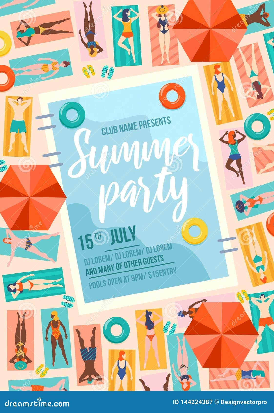 Lato partyjny modny plakat z basenem i lud?mi Lato sprzeda? lub zaproszenie projekta szablon Ludzie na urlopowym podr??y poj?ciu
