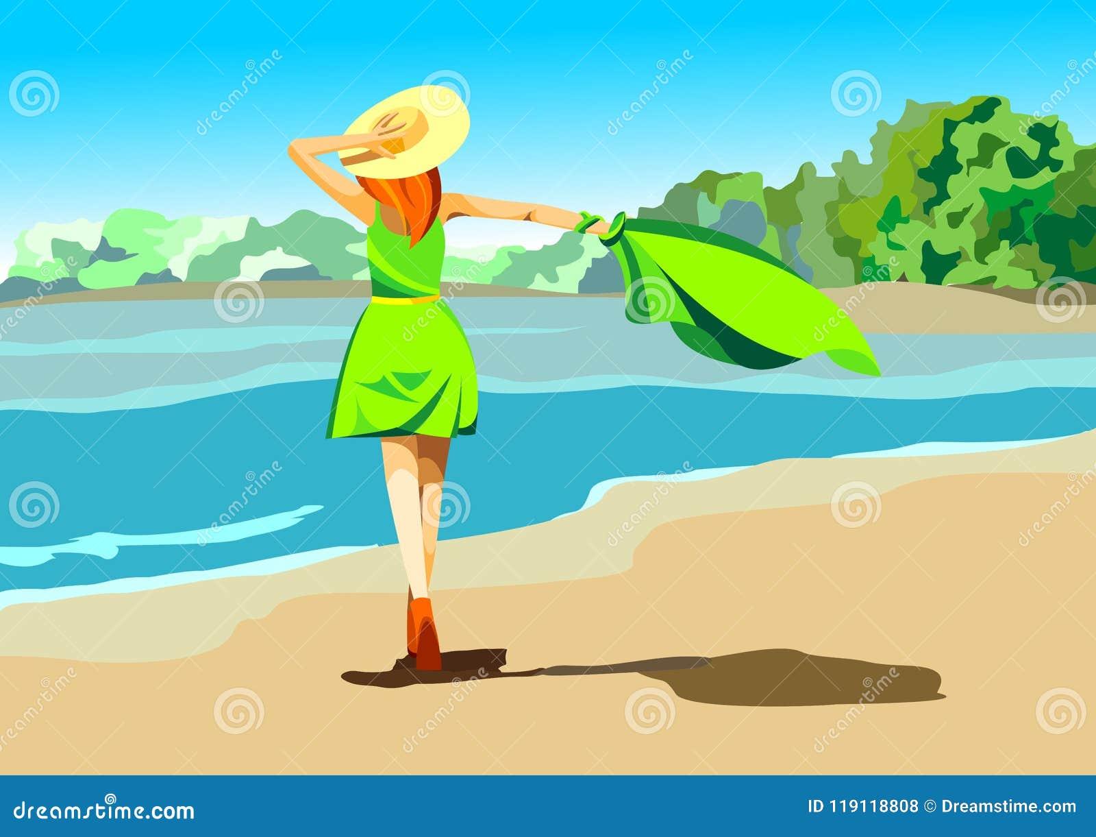 Lato plażowy Wektorowy projekt na plaży z parasolem i przesłonie na plaży Lata tła ilustracja dla plaży