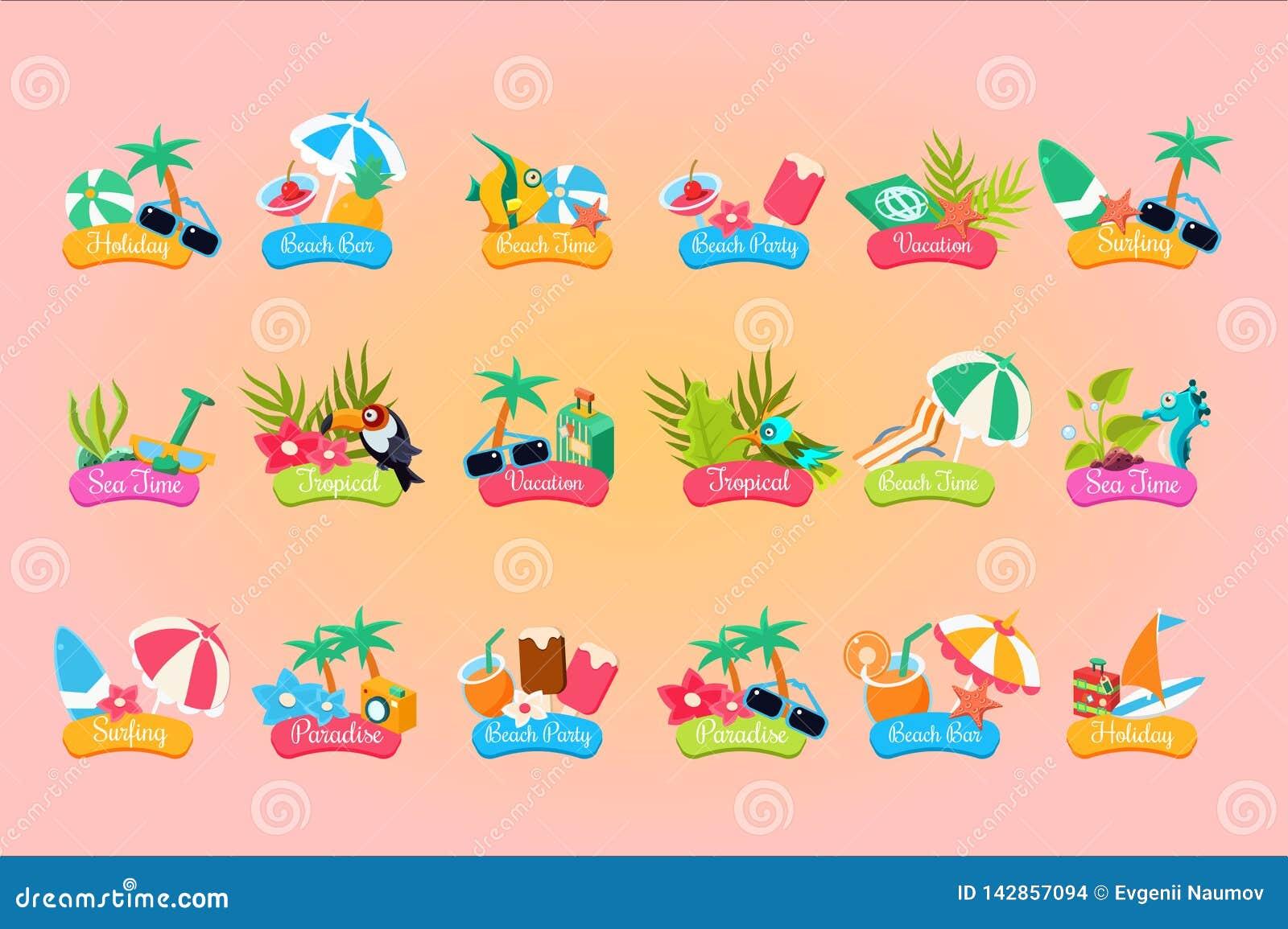 Lato podróży logo szablonu set, wakacje, raj, wakacje, plażowy czas przylepia etykietkę wektorowe ilustracje