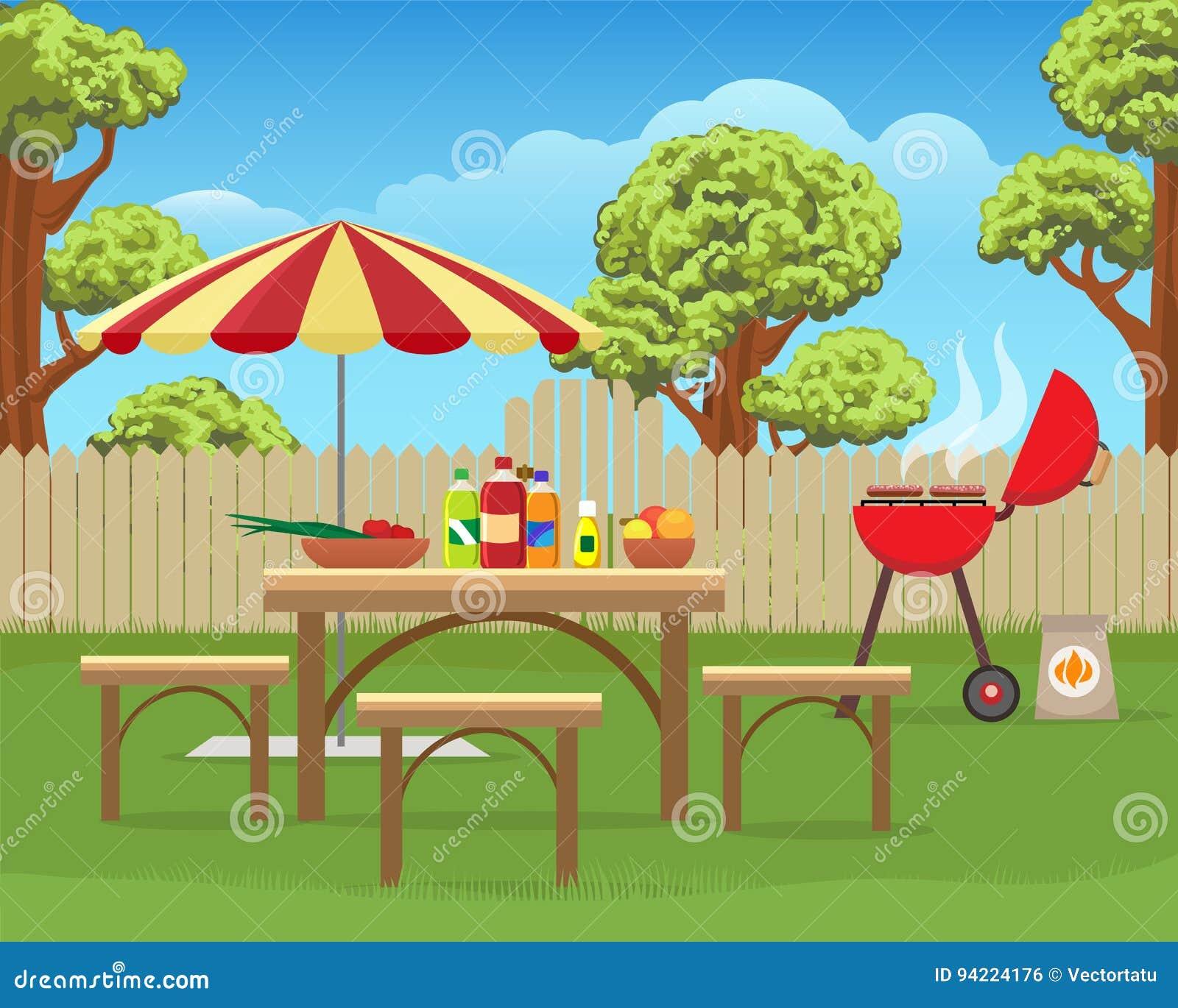 Lato podwórka zabawy bbq