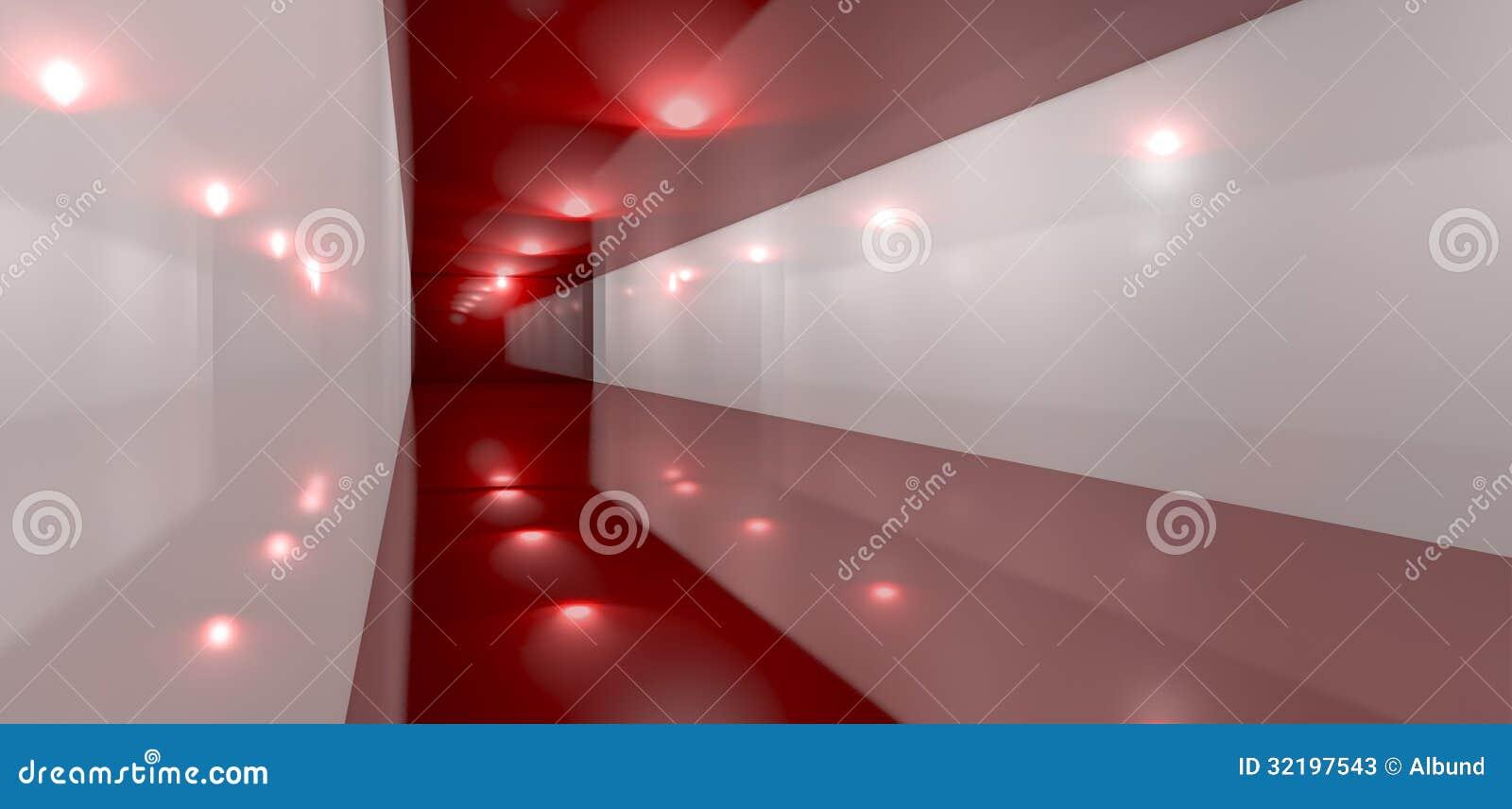 Pavimento Rosso Lucido : Lato rosso lucido di prospettiva della stanza illustrazione di stock