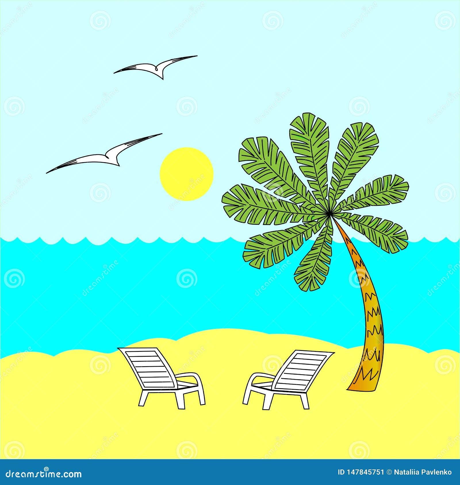 Lato spoczynkowy słoneczny dzień Dwa pokładu krzesła pod drzewkiem palmowym morze ciep?y Poj?cie relaks r?wnie? zwr?ci? corel ilu