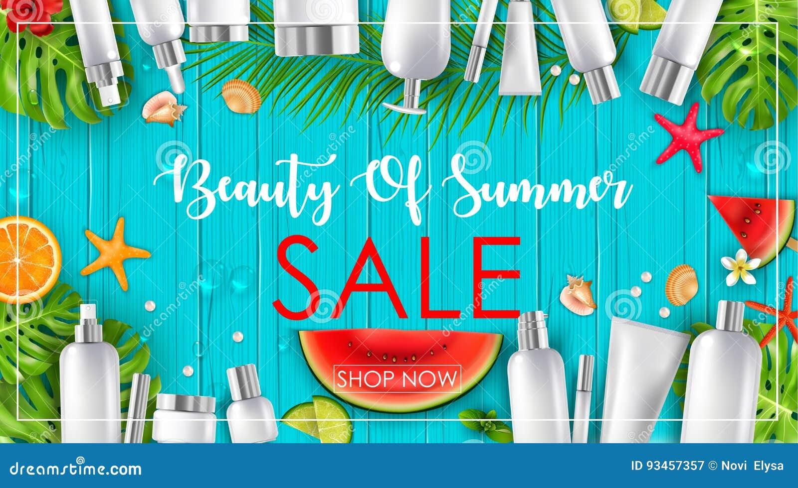 Lato sprzedaż z pięknem i kosmetyka tłem