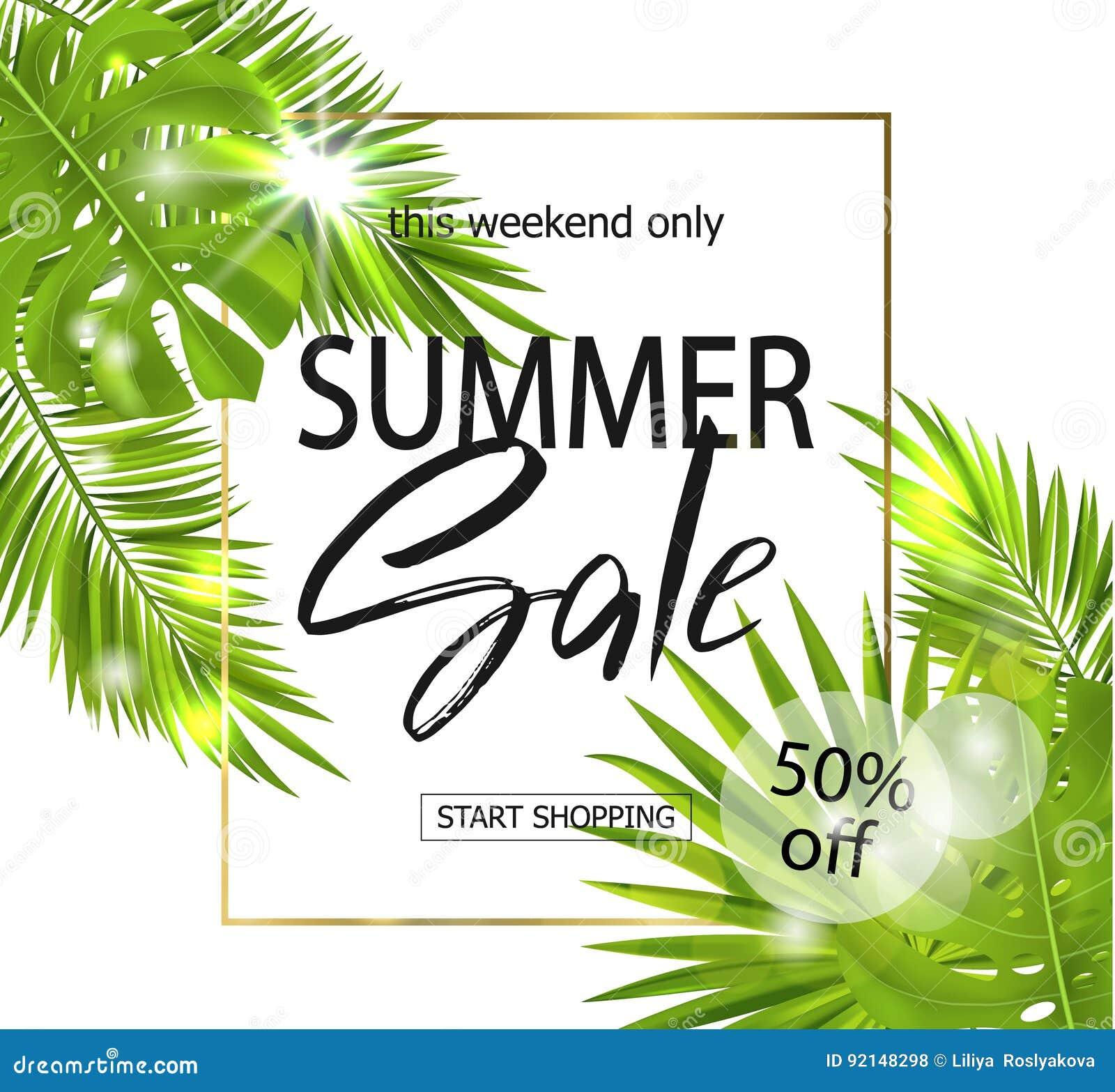 Lato sprzedaży sztandar, plakat z palmowymi liśćmi, dżungla liść i handwriting literowanie, tropikalny tło wektor
