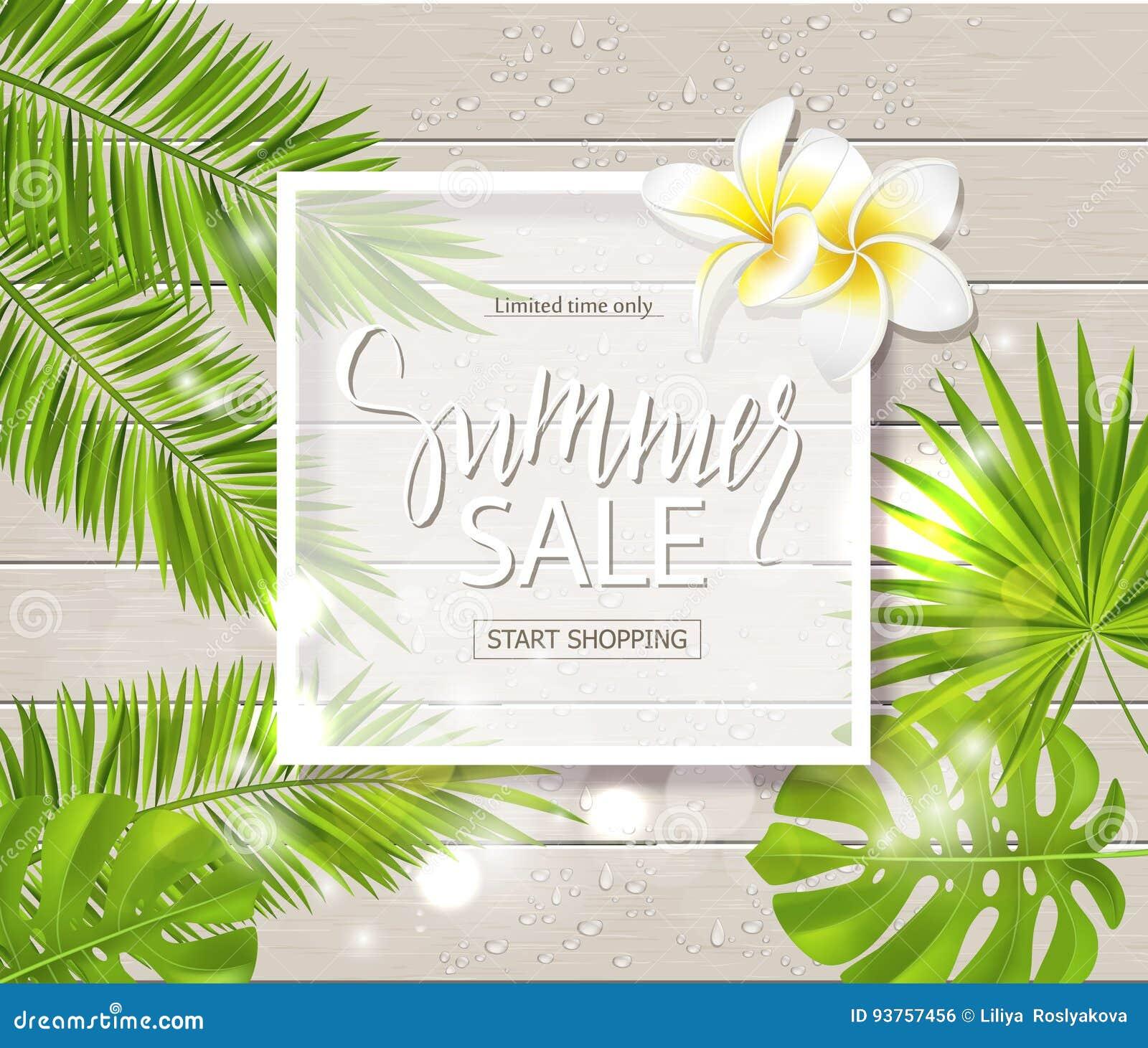 Lato Sprzedaży Sztandar Plakat Z Tropikalnymi Kwiatami
