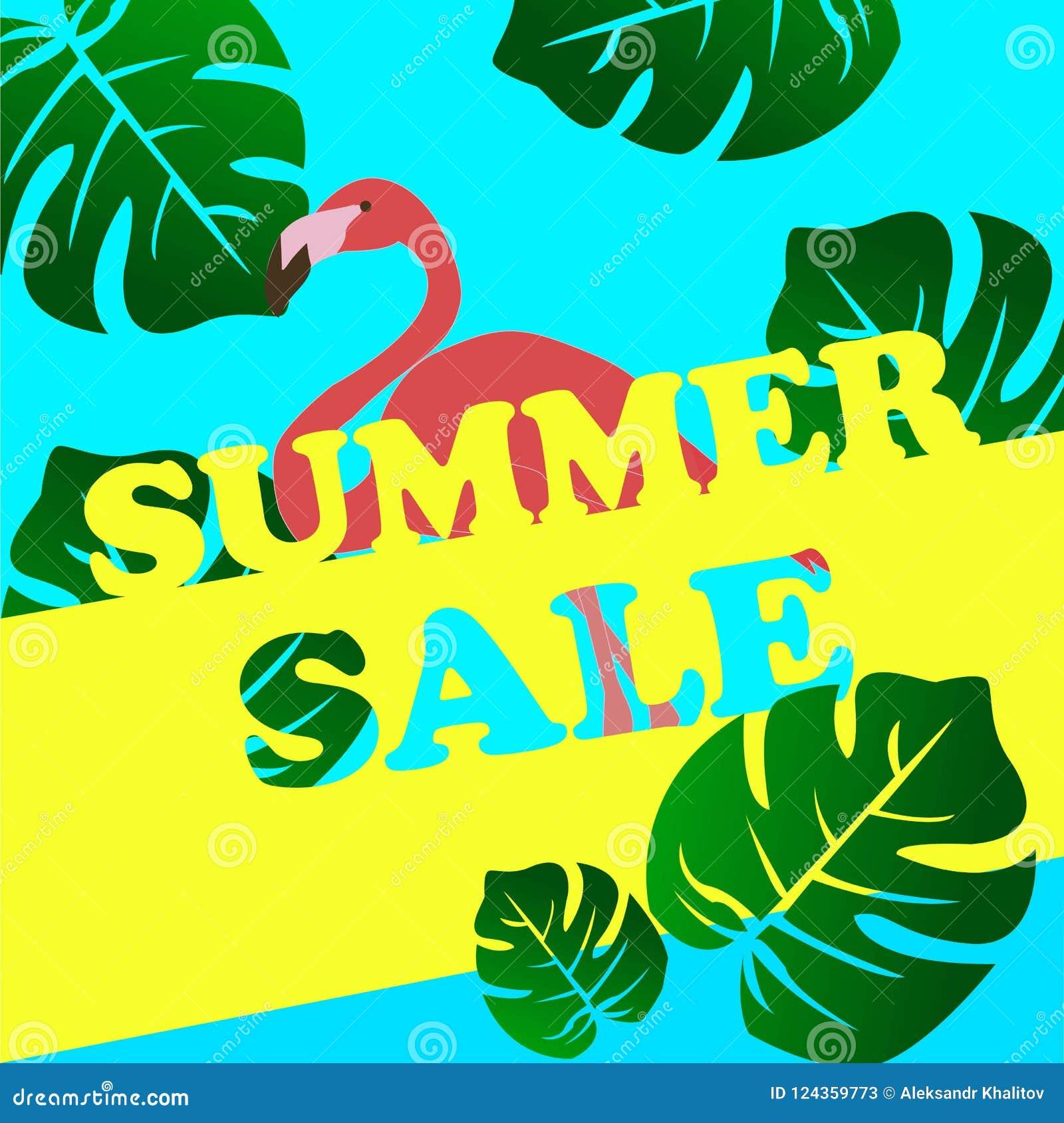 Lato sprzedaży sztandar z flamingiem i tropikalnym liścia tłem