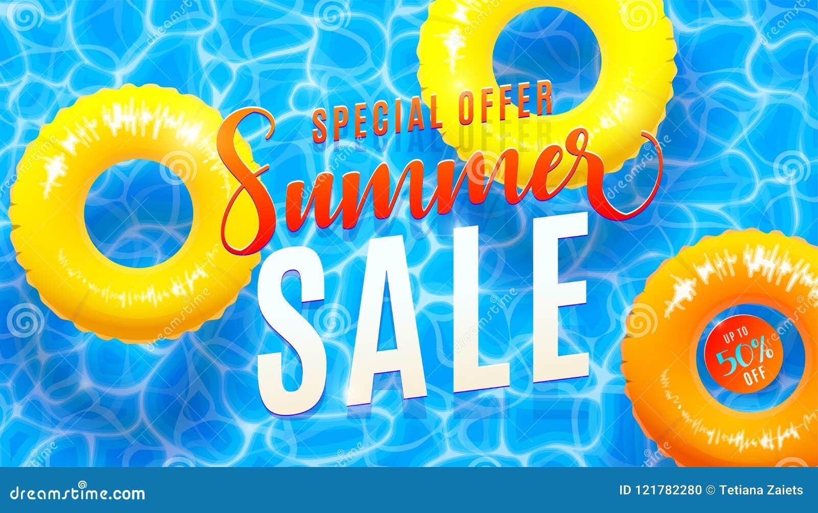 Lato sprzedaży sztandaru tło z błękitne wody teksturą i żółty basen unosimy się Wektorowa ilustracja morze plaży oferta