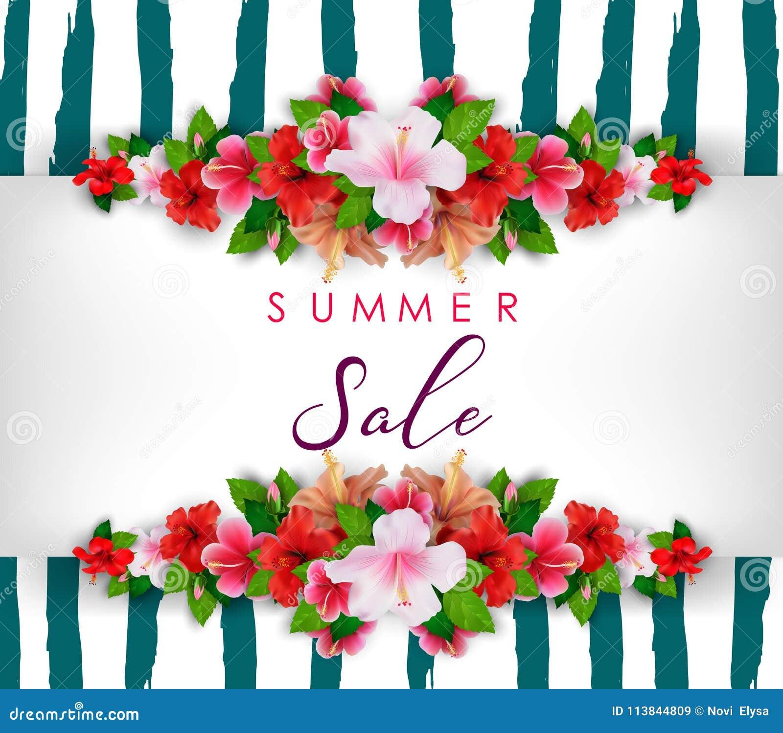 Lato sprzedaży tło z tropikalnymi kwiatami