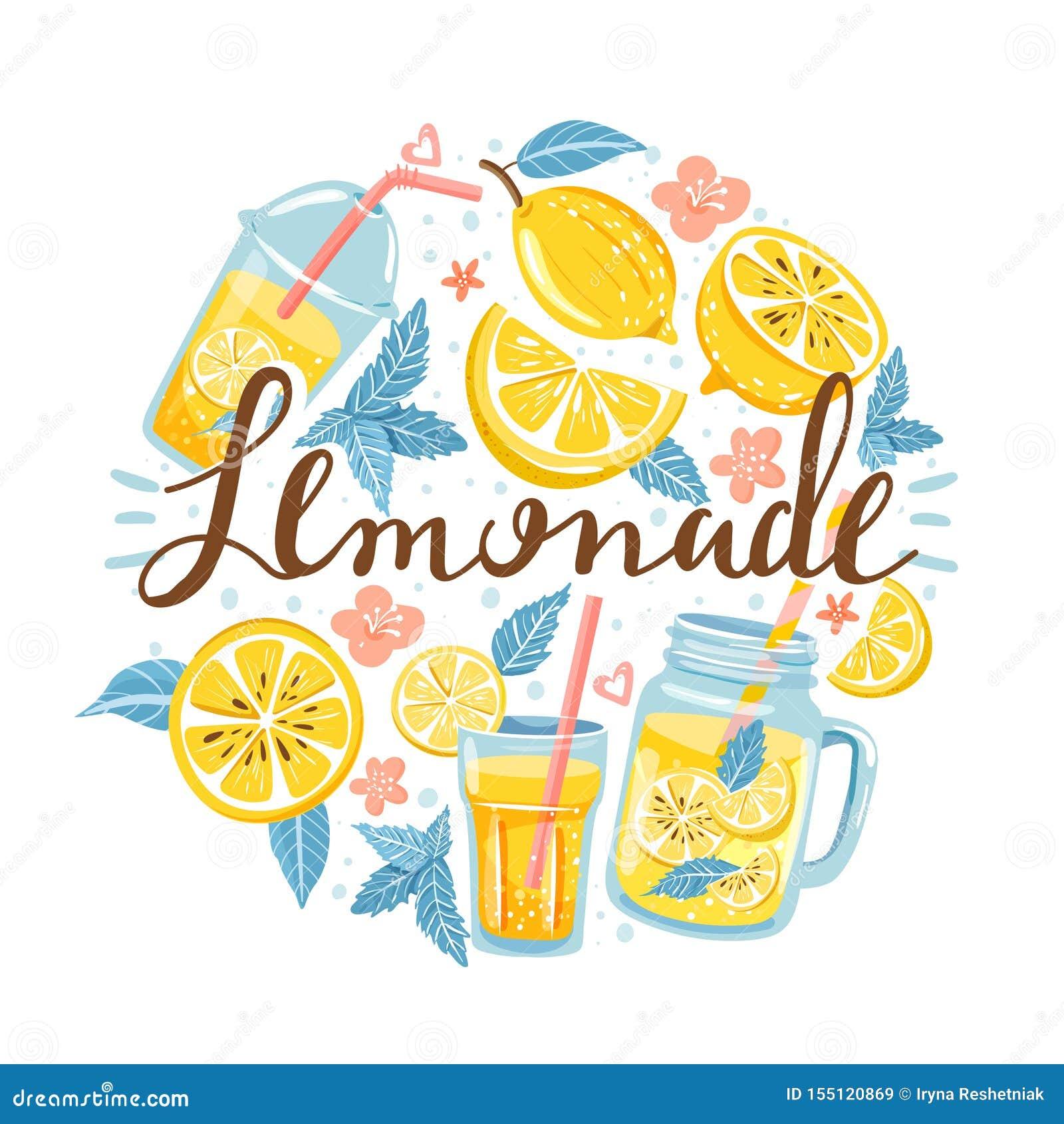 Lato ustawiający z cytryną, cytryna plasterkiem, mennicą, kwiatem, słojem z lemoniadą i literowaniem,