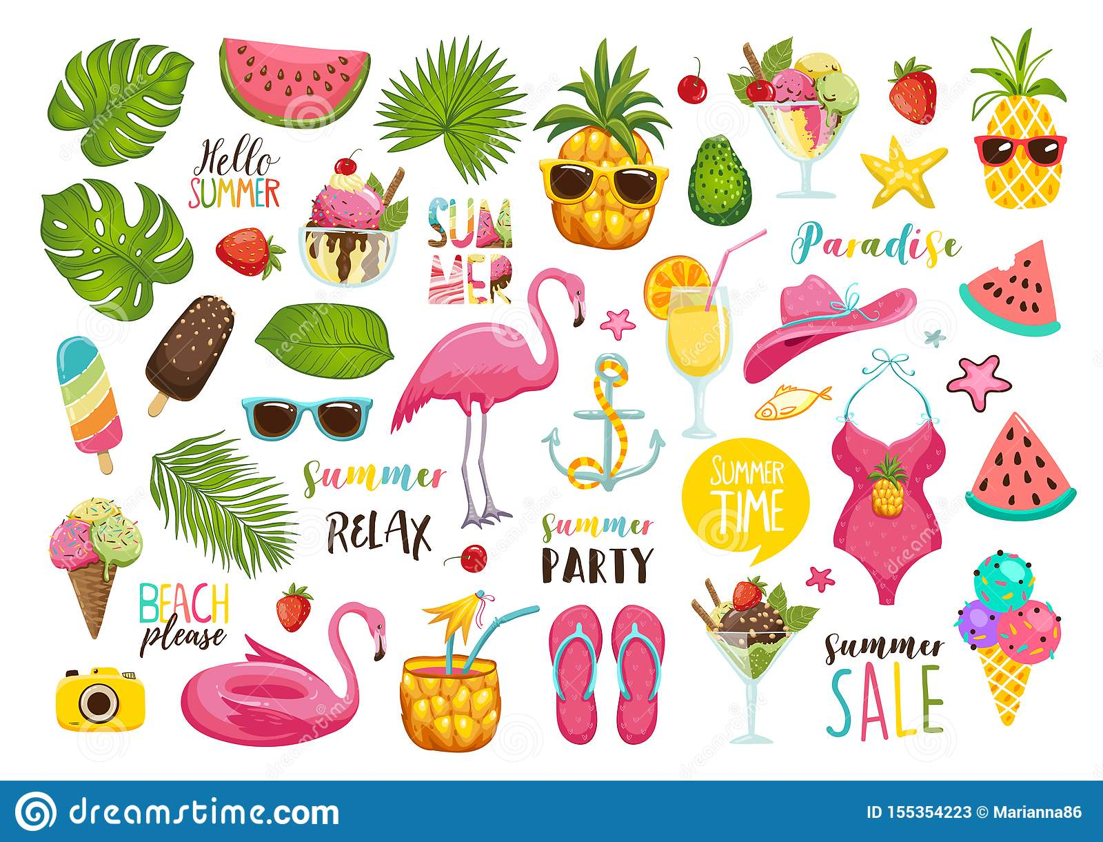 Lato ustawiający z ręka rysującymi podróż elementami Lody, arbuz, liście, kapelusz, sandały, ananas, torba, kaligrafia i