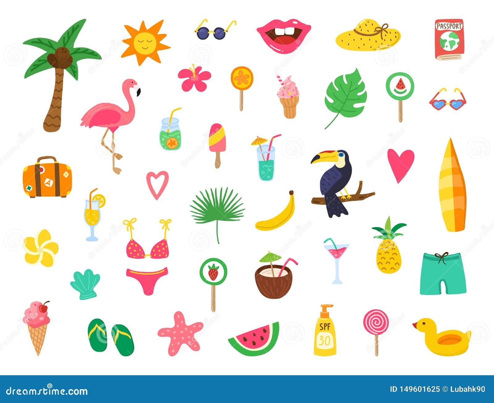 Lato ustawiaj?cy z r?ka rysuj?cymi elementami Lato plaży przyjęcia projekt z doodle flamingiem, kwiaty, tropikalna owoc, cukierki