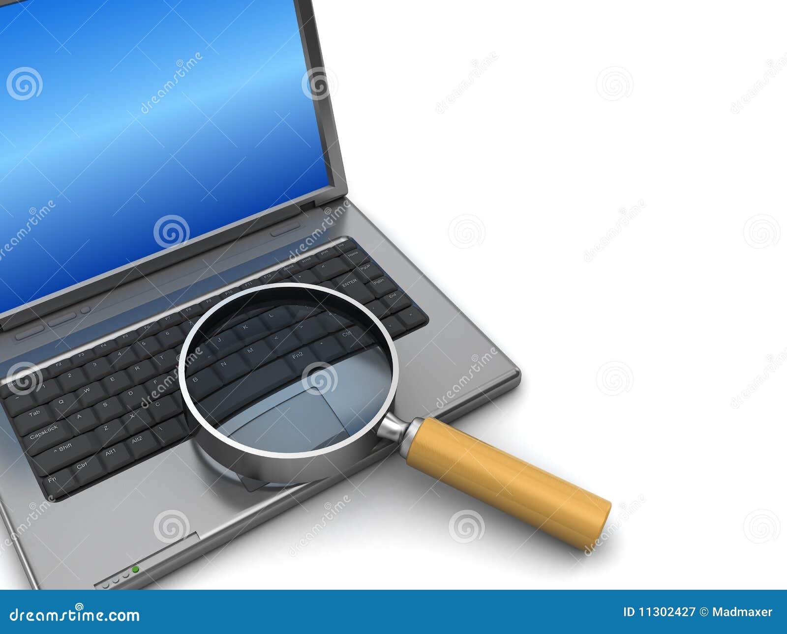 latop com amplia o vidro ilustração stock ilustração de laptop