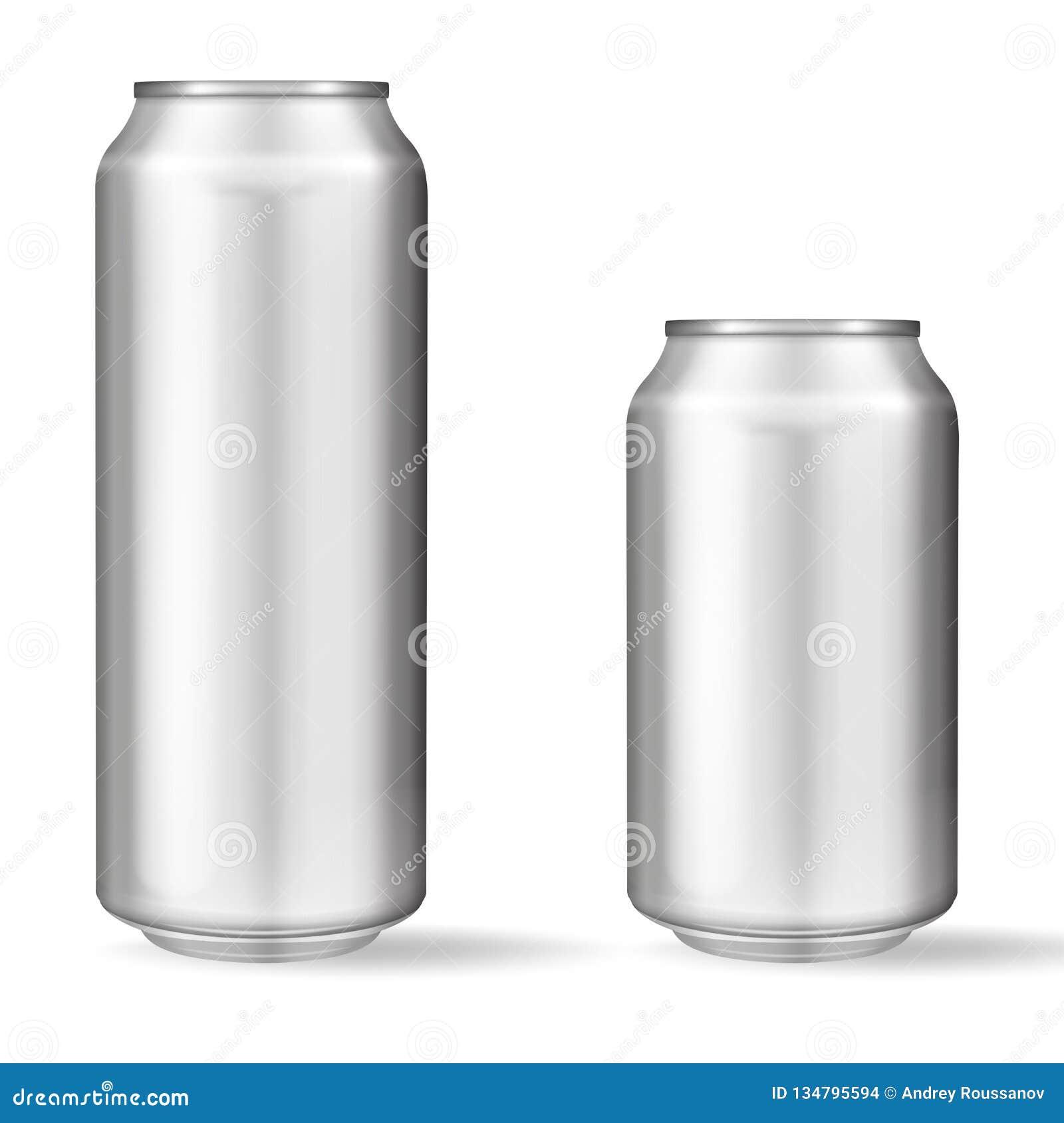 Latta di alluminio realistica su fondo bianco Modello, latta in bianco con lo spazio della copia