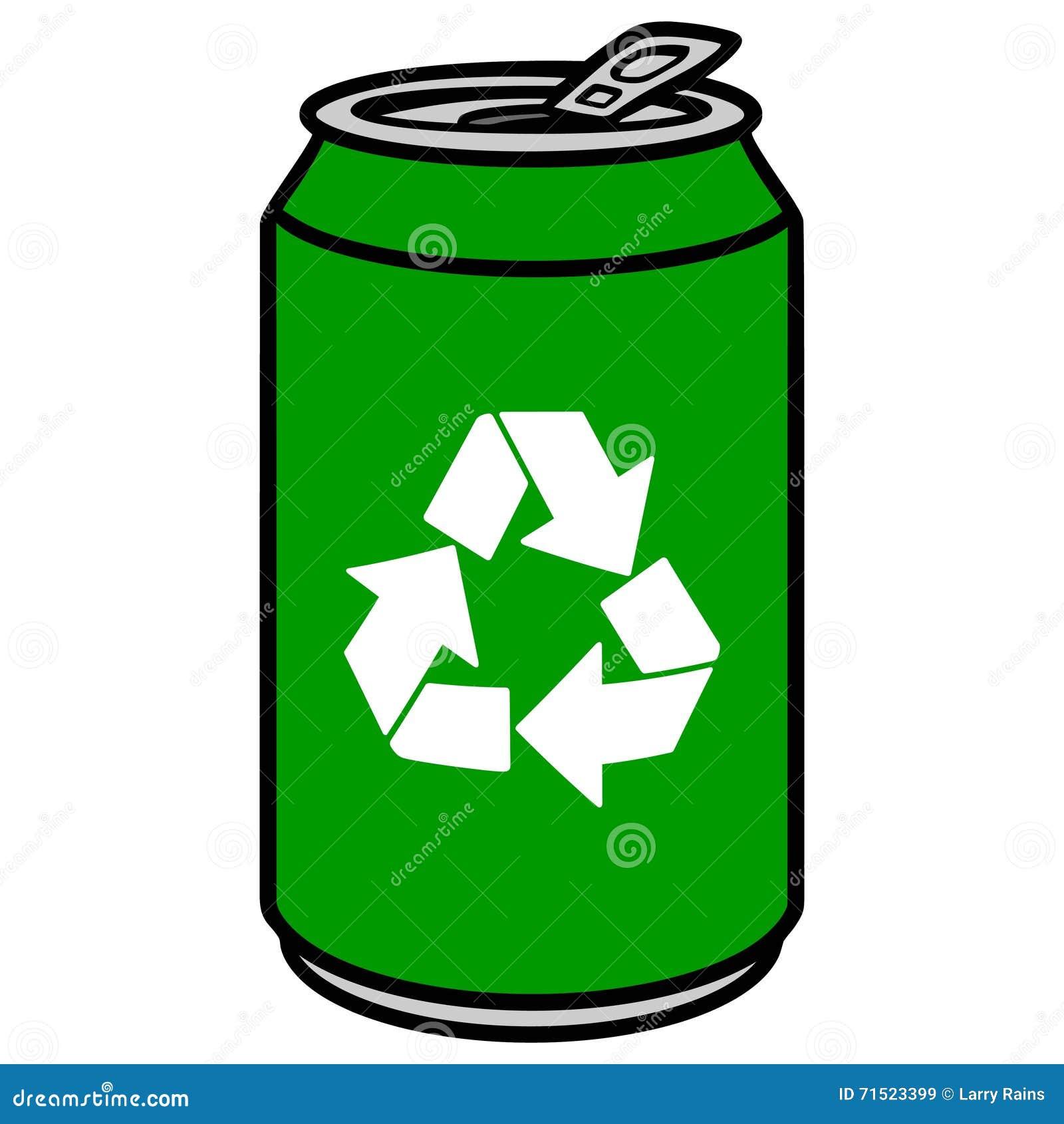 Latta di alluminio verde con un simbolo di riciclaggio - Simbolo de aluminio ...