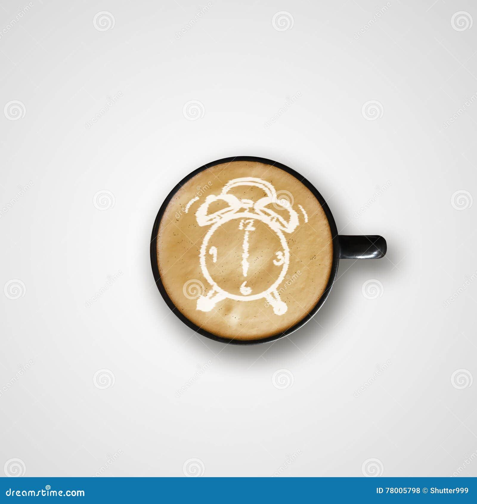 Latte Art Coffee Cup del disegno della sveglia